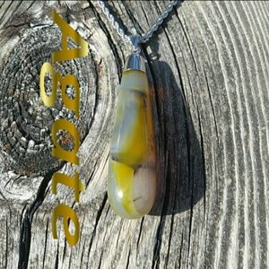 Banded Agate Crystal Necklace.  NWOT